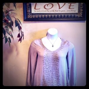 🔥SALE🔥 Gorgeous Taupe shirt with black beads